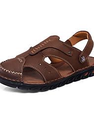 お買い得  -男性用 靴 レザー レザーレット 春 夏 コンフォートシューズ サンダル のために カジュアル ライトブラウン ダークブラウン