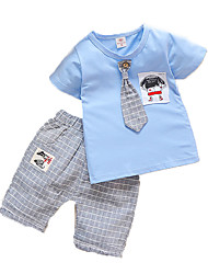 cheap -Boys' Daily Holiday Striped Clothing Set, Cotton Summer Short Sleeves Active Blushing Pink Light Green Light Blue