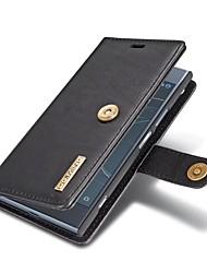 abordables -Coque Pour Sony Xperia XZ1 Porte Carte Portefeuille Avec Support Clapet Coque Intégrale Couleur Pleine Dur Cuir véritable pour Sony