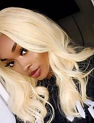 cheap -Brazilian Hair Wavy Remy Human Hair Human Hair Extensions / Hair Weft with Closure 4 Bundles Human Hair Weaves New Arrival / Natural Hairline Light Blonde Human Hair Extensions Women's