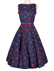 cheap -Women's Holiday Vintage A Line Dress - Floral Print / Summer