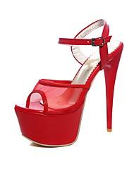 abordables -Mujer Zapatos Semicuero Verano Confort Sandalias Tacón Stiletto Punta abierta Hebilla Blanco / Negro / Rojo / Fiesta y Noche
