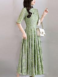 baratos -Mulheres Tamanhos Grandes Delgado balanço Vestido - Renda, Sólido Colarinho Chinês Longo