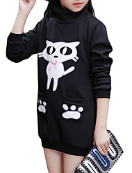 cheap -Girls' Daily Solid Hoodie & Sweatshirt, Cotton Winter Long Sleeves Cartoon Black