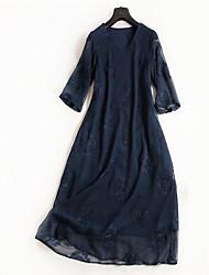 abordables -Femme simple Basique Balançoire Robe Couleur Pleine Au dessus du genou
