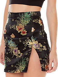 preiswerte -Damen Retro Street Schick Bodycon Röcke - Blumen