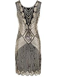 abordables -Gatsby le magnifique Rétro Gatsby Costume Femme Robes Argent Doré Noir/Rouge noir +Doré Vintage Cosplay Polyester Sans Manches