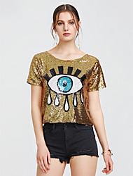 abordables -Mujer Estampado - Camiseta A Lunares Poliéster