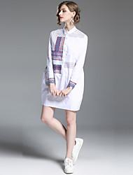 baratos -Mulheres Moda de Rua Reto Vestido - Bordado, Geométrica Colarinho Chinês Mini