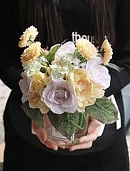 baratos -Flores artificiais 5 Ramo Casamento / buquês de Noiva Rosas Flor de Mesa