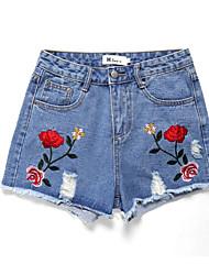 cheap -Women's Basic Plus Size Shorts Pants - Floral Print High Waist / Floral Patterns