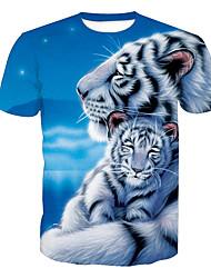abordables -Hombre Activo Estampado Camiseta, Escote Redondo Animal Tigre / Manga Corta