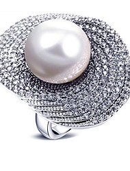 cheap -Women's Statement Ring Pearl White Gray Pearl Zircon Copper Irregular Oversized Fashion European Party Gift Costume Jewelry