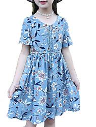baratos -Menina de Vestido Diário Feriado Sólido Verão Algodão Poliéster Manga Curta Fofo Activo Azul