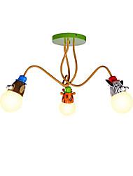 Недорогие -животное форма 3-х голова потолочный светильник металлический заподлицо гостиная гостиная столовая комната для детей