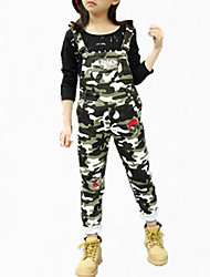cheap -Girls' Party Pants, Cotton Spring Fall All Seasons Floral Army Green