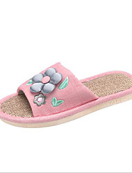baratos -Mulheres Sapatos Linho Primavera Conforto Chinelos e flip-flops Sem Salto para Casual Cinzento Fúcsia Verde Azul Rosa claro