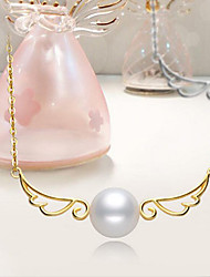 cheap -Women's Freshwater Pearl Pendant Necklace  -  Pearl, Silver Plated, Gold Plated Wings Sweet, Fashion Gold, Silver 42 cm Necklace For Party, Gift / S925 Sterling Silver