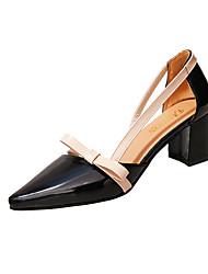Недорогие -Жен. Обувь Синтетика / Полиуретан Лето Удобная обувь Обувь на каблуках Для прогулок Блочная пятка Заостренный носок Пряжки Черный /