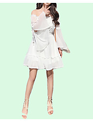 cheap -Women's Simple / Street chic Flare Sleeve A Line Dress - Solid Colored