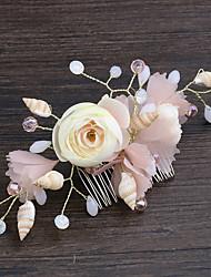 baratos -Resina Pentes de cabelo com Concha e Estrela do Mar / Floral 1pç Casamento / Mascarilha Capacete