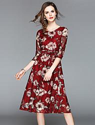 abordables -Mujer Vintage / Sofisticado Línea A / Corte Swing Vestido - Encaje / Estampado, Floral Midi
