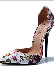 baratos -Mulheres Sapatos Courino Primavera Verão Inovador Conforto Saltos Salto Agulha para Festas & Noite Prata Fúcsia Arco-íris Vermelho Nú