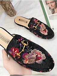 お買い得  -女性用 靴 フロック加工 春夏 コンフォートシューズ 下駄とミュール フラットヒール ラウンドトウ のために アウトドア ブラック / ブルー