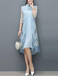 Недорогие -Жен. Большие размеры Шинуазери (китайский стиль) Свободный силуэт Шифон Платье - Цветочный принт Животное Ассиметричное