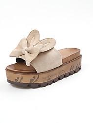 cheap -Women's Shoes PU Summer Comfort Slippers & Flip-Flops Flat Heel Bowknot for Casual Black Beige Green