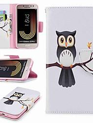baratos -Capinha Para Samsung Galaxy J7 (2017) / J2 PRO 2018 Carteira / Porta-Cartão / Com Suporte Capa Proteção Completa Corujas / Árvore Rígida PU Leather para J7 (2017) / J5 (2017) / J5 (2016)