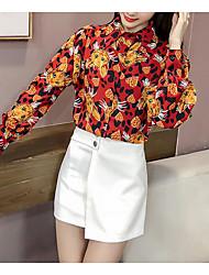 Недорогие -Жен. Рубашка Воротник-стойка Геометрический принт