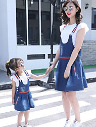 cheap -Adults / Kids Girls' Color Block Short Sleeve Clothing Set