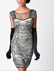 abordables -Gatsby le magnifique Rétro / Années 20 Costume Femme Bandeau Garçonne Noir / Doré Vintage Cosplay Polyester Sans Manches