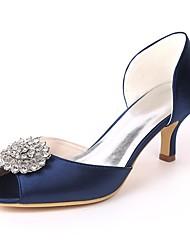 economico -Per donna Scarpe Raso Primavera estate Decolleté scarpe da sposa A stiletto Punta aperta Con diamantini Rosso / Champagne / Avorio