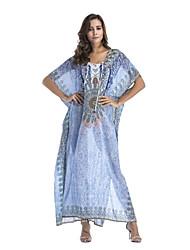 baratos -Mulheres Boho Reto Vestido Geométrica Longo