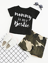 cheap -Boys' Daily Sports Going out Geometric Clothing Set, Cotton Polyester Summer Short Sleeves Dresswear Black
