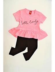 Недорогие -Дети (1-4 лет) Девочки С принтом С короткими рукавами Набор одежды