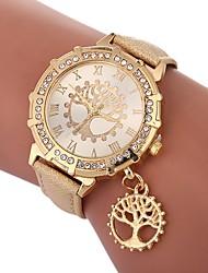 Недорогие -Жен. Наручные часы Китайский Имитация Алмазный / дерево PU Группа На каждый день / Мода Черный / Белый / Красный