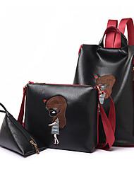 baratos -Mulheres Bolsas PU Leather Conjuntos de saco 3 Pcs Purse Set Estampa para Ao ar livre Preto / Vermelho