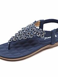 Недорогие -Жен. Обувь Полиуретан Лето Удобная обувь Сандалии На плоской подошве Синий / Миндальный