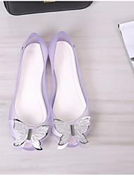 Недорогие -Жен. Обувь ПВХ Весна лето Силиконовая обувь Сандалии На плоской подошве Открытый мыс Бант для на открытом воздухе Черный / Лиловый /