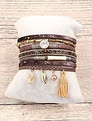 abordables -Bracelets en cuir Bracelet Pendentif Femme Franges Cuir dames Bohème Mode Bracelet Bijoux Marron Rouge Vert Irrégulier pour Cadeau Quotidien