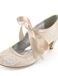cheap -Women's Shoes Lace Summer Comfort Wedding Shoes Cone Heel Silver / Champagne / Ivory
