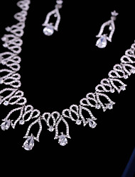 Недорогие -Жен. Цирконий Комплект ювелирных изделий - Милая, Мода Включают Серьги-слезки Ожерелья с подвесками Белый Назначение Свадьба Для вечеринок
