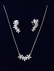 cheap -Women's Cubic Zirconia Jewelry Set - Flower Korean, Fashion Include Drop Earrings / Pendant Necklace White For Wedding / Birthday