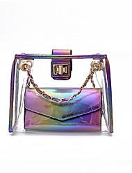 baratos -Mulheres Bolsas PVC Conjuntos de saco 2 Pcs Purse Set Broche de Cristal Dourado / Arco-íris / Prateado