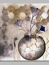 abordables -Peinture à l'huile Hang-peint Peint à la main - Abstrait A fleurs / Botanique Traditionnel Toile