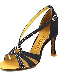 baratos -Mulheres Sapatos de Dança Latina / Sapatos de Salsa Veludo Sandália / Salto Presilha / Cadarço de Borracha Salto Personalizado Personalizável Sapatos de Dança Preto / Amarelo / Vermelho / Espetáculo