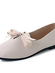 baratos -Mulheres Sapatos Couro Ecológico Verão Conforto Mocassins e Slip-Ons Salto Baixo Ponta quadrada Preto / Bege / Castanho Escuro